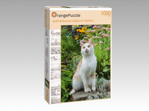 """Puzzle Motiv """"Aufmerksame Katze im Garten"""" - Puzzle-Schachtel zu 1000 Teile Puzzle"""