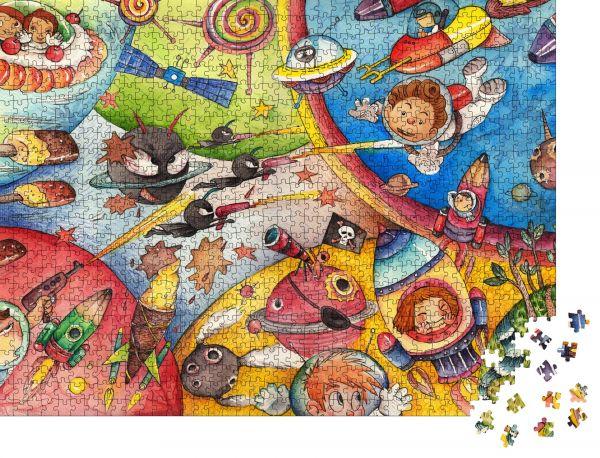 """Puzzle-Motiv """"Das Interstellare Alter in Kinderaugen. Aquarell-Kunstwerk"""" - Puzzle-Teile zu 1000 Teile Puzzle"""