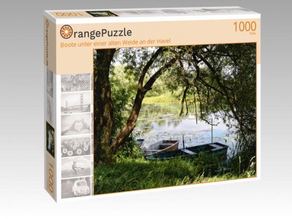 """Puzzle Motiv """"Boote unter einer alten Weide an der Havel"""" - Puzzle-Schachtel zu 1000 Teile Puzzle"""