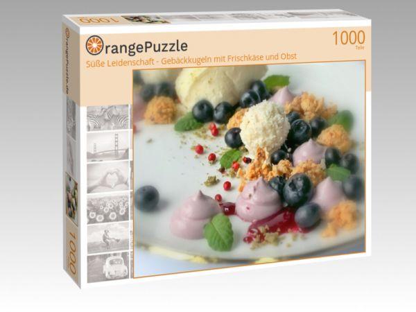 """Puzzle Motiv """"Süße Leidenschaft - Gebäckkugeln mit Frischkäse und Obst"""" - Puzzle-Schachtel zu 1000 Teile Puzzle"""