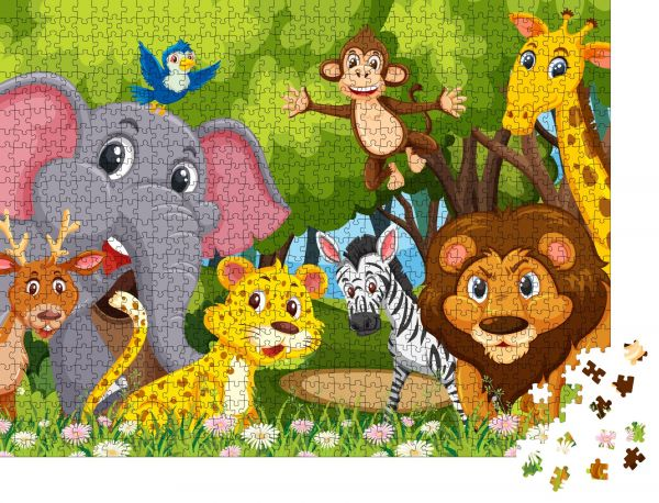 """Puzzle-Motiv """"Gruppe von Tieren im Dschungel Illustration"""" - Puzzle-Teile zu 1000 Teile Puzzle"""