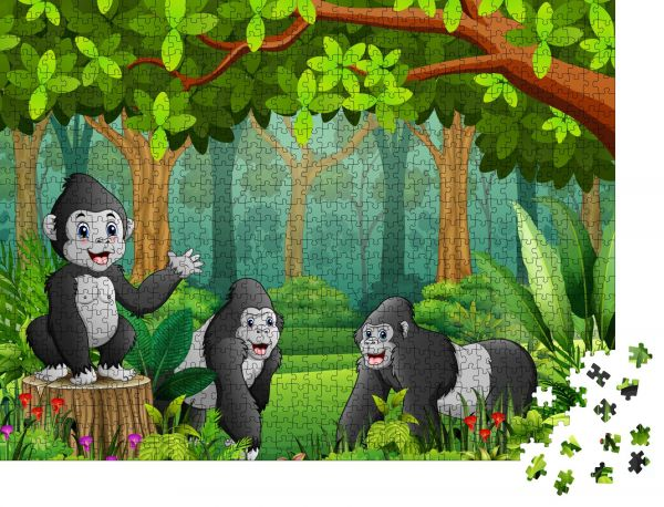 """Puzzle-Motiv """"Eine Gruppe von Gorillas mit Blick auf den grünen Wald"""" - Puzzle-Teile zu 1000 Teile Puzzle"""