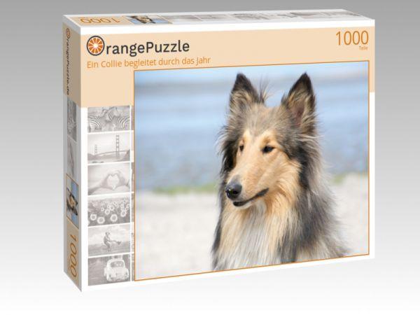"""Puzzle Motiv """"Ein Collie begleitet durch das Jahr"""" - Puzzle-Schachtel zu 1000 Teile Puzzle"""