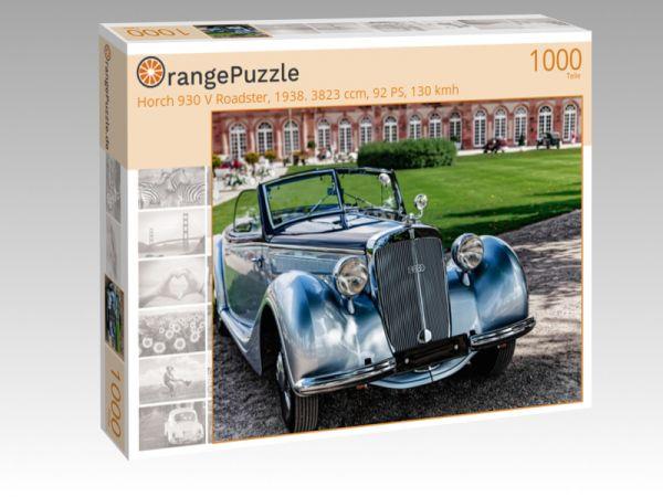 """Puzzle Motiv """"Horch 930 V Roadster, 1938. 3823 ccm, 92 PS, 130 kmh"""" - Puzzle-Schachtel zu 1000 Teile Puzzle"""