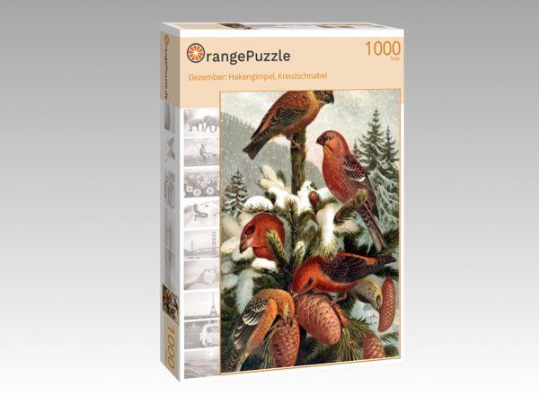 """Puzzle Motiv """"Dezember: Hakengimpel, Kreuzschnabel"""" - Puzzle-Schachtel zu 1000 Teile Puzzle"""