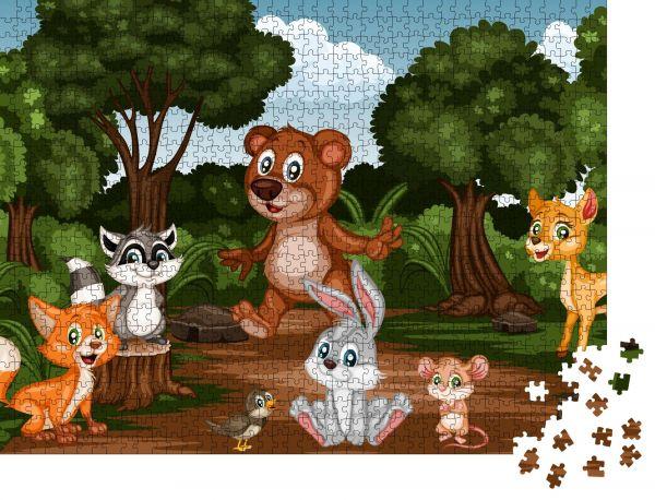 """Puzzle-Motiv """"Gruppe von Cartoon Fröhlichen Tieren im Wald Niedliche Cartoon Wald Tierfiguren"""" - Puzzle-Teile zu 1000 Teile Puzzle"""
