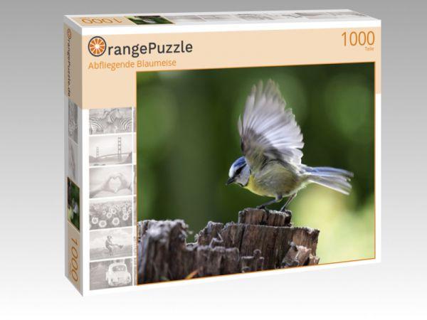 """Puzzle Motiv """"Abfliegende Blaumeise"""" - Puzzle-Schachtel zu 1000 Teile Puzzle"""