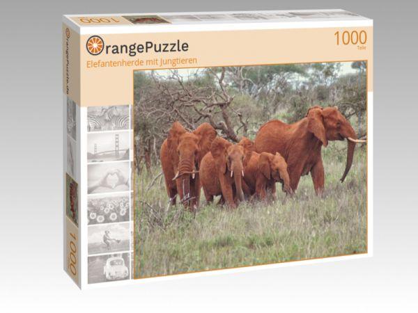 """Puzzle Motiv """"Elefantenherde mit Jungtieren"""" - Puzzle-Schachtel zu 1000 Teile Puzzle"""