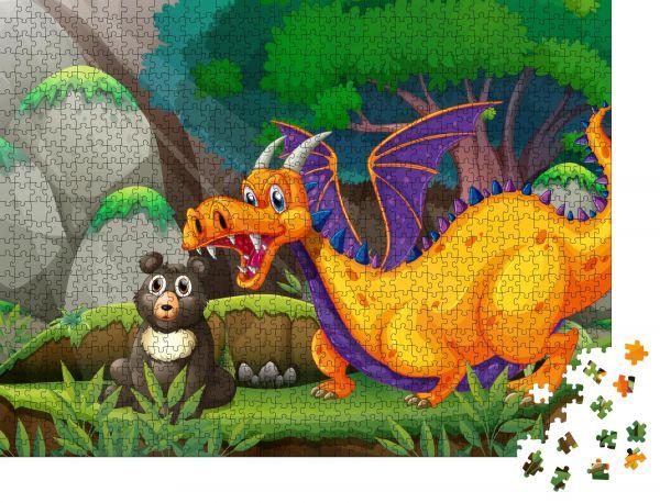 """Puzzle-Motiv """"Illustration eines Drachens, der neben einem Bären steht"""" - Puzzle-Teile zu 1000 Teile Puzzle"""