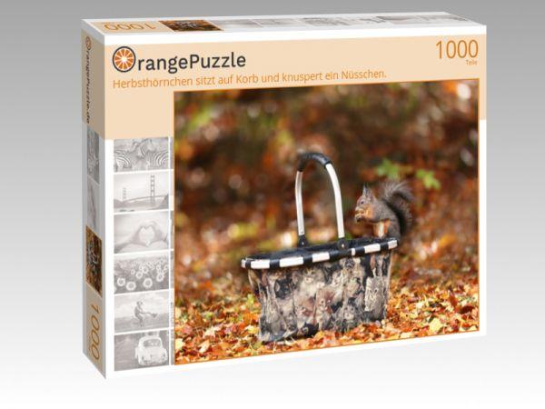 """Puzzle Motiv """"Herbsthörnchen sitzt auf Korb und knuspert ein Nüsschen."""" - Puzzle-Schachtel zu 1000 Teile Puzzle"""