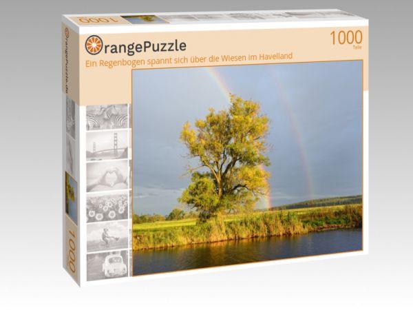 """Puzzle Motiv """"Ein Regenbogen spannt sich über die Wiesen im Havelland"""" - Puzzle-Schachtel zu 1000 Teile Puzzle"""