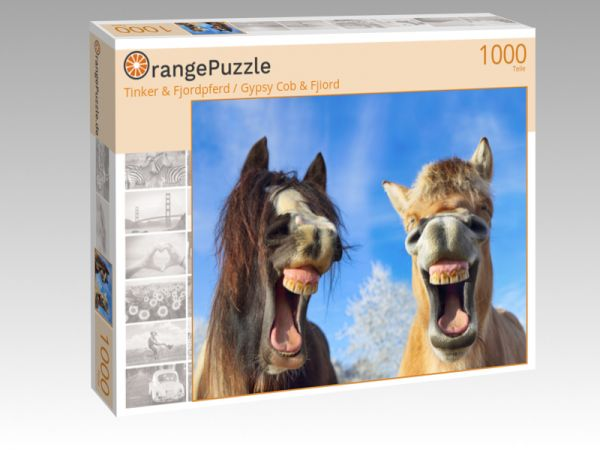 "Puzzle Motiv ""Tinker & Fjordpferd / Gypsy Cob & Fjiord"" - Puzzle-Schachtel zu 1000 Teile Puzzle"