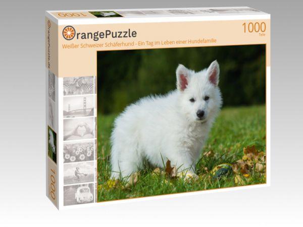 """Puzzle Motiv """"Weißer Schweizer Schäferhund - Ein Tag im Leben einer Hundefamilie"""" - Puzzle-Schachtel zu 1000 Teile Puzzle"""