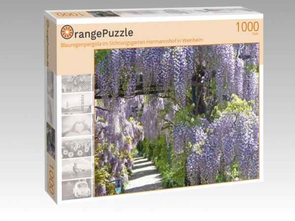 """Puzzle Motiv """"Blauregenpergola im Sichtungsgarten Hermannshof in Weinheim"""" - Puzzle-Schachtel zu 1000 Teile Puzzle"""
