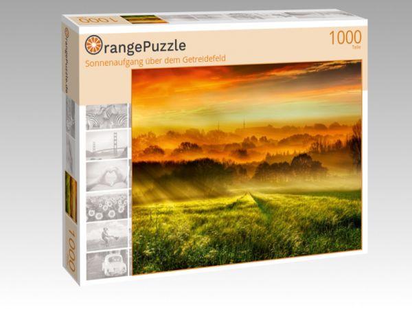 """Puzzle Motiv """"Sonnenaufgang über dem Getreidefeld"""" - Puzzle-Schachtel zu 1000 Teile Puzzle"""