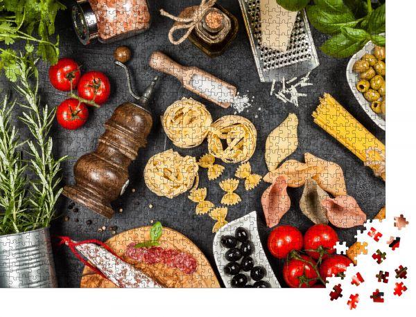"""Puzzle-Motiv """"Italienische Lebensmittelzutaten"""" - Puzzle-Schachtel zu 1000 Teile Puzzle"""