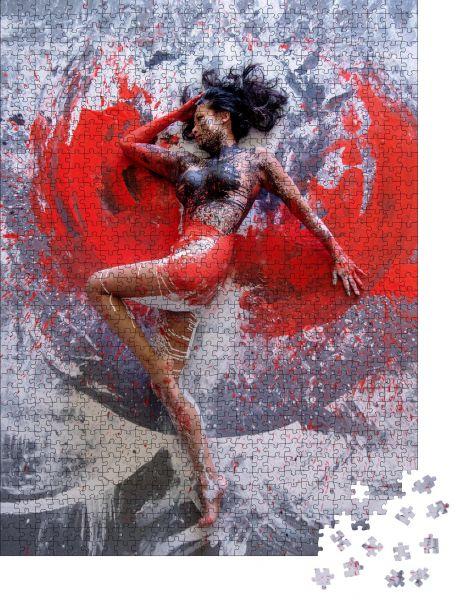 """Puzzle-Motiv """"Junge nackte asiatische Frau in Rot, Grauweiß, Farbe, gemalt, tanzend auf dem Boden elegant in Farbe"""" - Puzzle-Schachtel zu 1000 Teile Puzzle"""