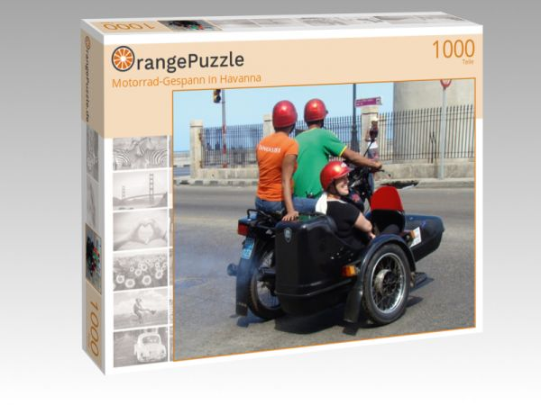 """Puzzle Motiv """"Motorrad-Gespann in Havanna"""" - Puzzle-Schachtel zu 1000 Teile Puzzle"""