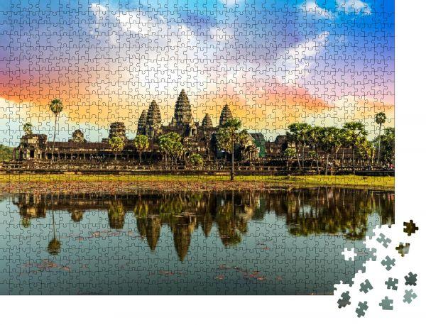 """Puzzle-Motiv """"Bunter Sonnenaufgang in Angkor Wat, Kambodscha"""" - Puzzle-Schachtel zu 1000 Teile Puzzle"""