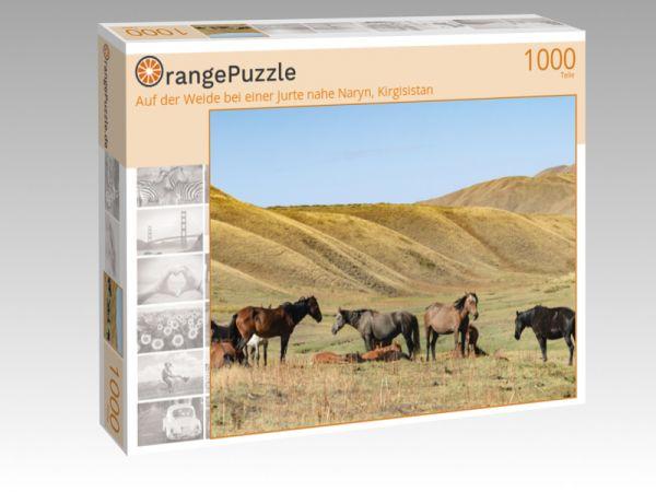 """Puzzle Motiv """"Auf der Weide bei einer Jurte nahe Naryn, Kirgisistan"""" - Puzzle-Schachtel zu 1000 Teile Puzzle"""