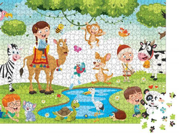 """Puzzle-Motiv """"Kinder beim Spielen mit lustigen Tieren"""" - Puzzle-Teile zu 1000 Teile Puzzle"""