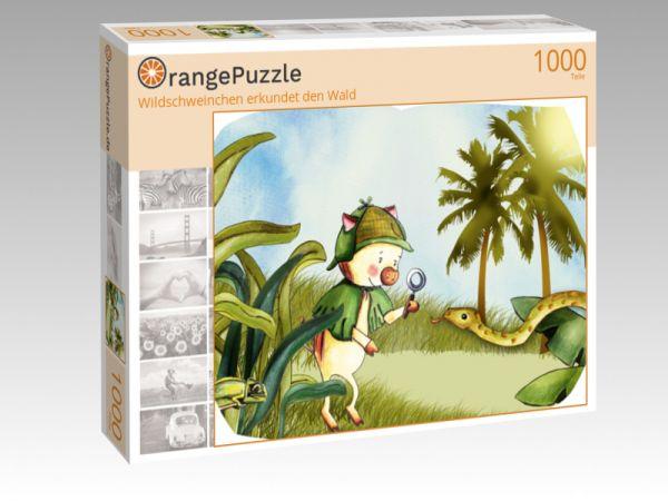 """Puzzle Motiv """"Wildschweinchen erkundet den Wald"""" - Puzzle-Schachtel zu 1000 Teile Puzzle"""