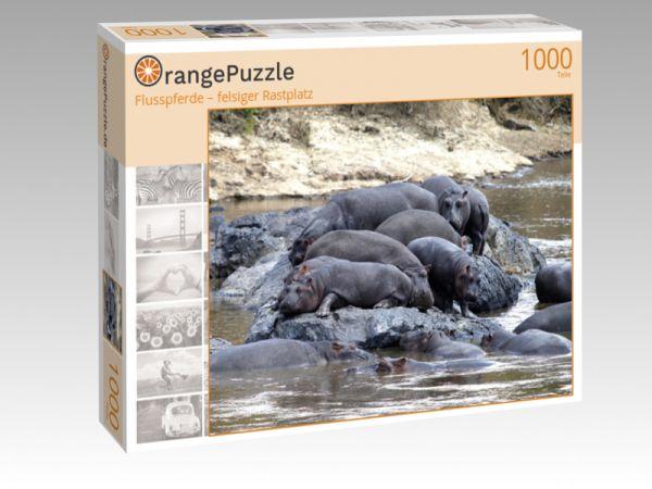 "Puzzle Motiv ""Flusspferde – felsiger Rastplatz"" - Puzzle-Schachtel zu 1000 Teile Puzzle"