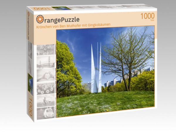 """Puzzle Motiv """"Krönchen von Ben Muthofer mit Gingkobäumen"""" - Puzzle-Schachtel zu 1000 Teile Puzzle"""