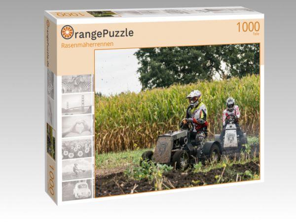 """Puzzle Motiv """"Rasenmäherrennen"""" - Puzzle-Schachtel zu 1000 Teile Puzzle"""