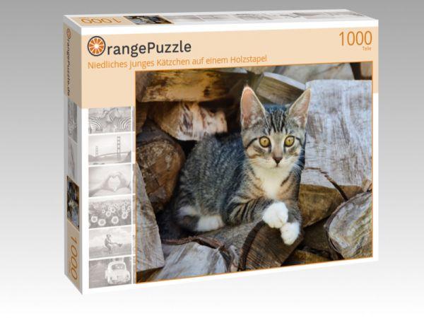 """Puzzle Motiv """"Niedliches junges Kätzchen auf einem Holzstapel"""" - Puzzle-Schachtel zu 1000 Teile Puzzle"""