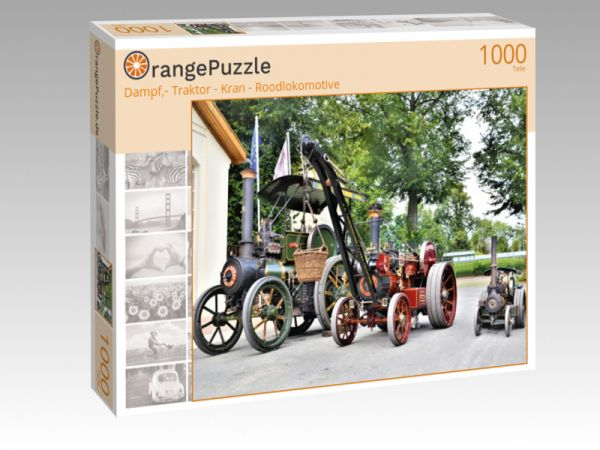 "Puzzle Motiv ""Dampf,- Traktor - Kran - Roodlokomotive"" - Puzzle-Schachtel zu 1000 Teile Puzzle"