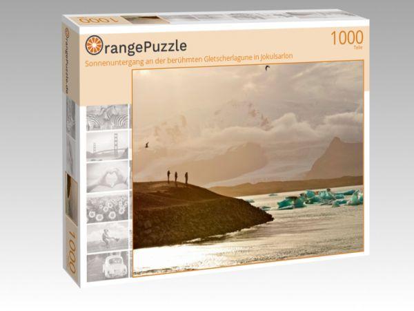 """Puzzle Motiv """"Sonnenuntergang an der berühmten Gletscherlagune in Jokulsarlon"""" - Puzzle-Schachtel zu 1000 Teile Puzzle"""
