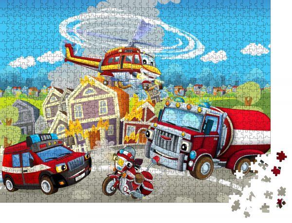 """Puzzle-Motiv """"Cartoonbühne mit verschiedenen Feuerlöschgeräten - bunte und fröhliche Szene - Illustration für Kinder"""" - Puzzle-Teile zu 1000 Teile Puzzle"""