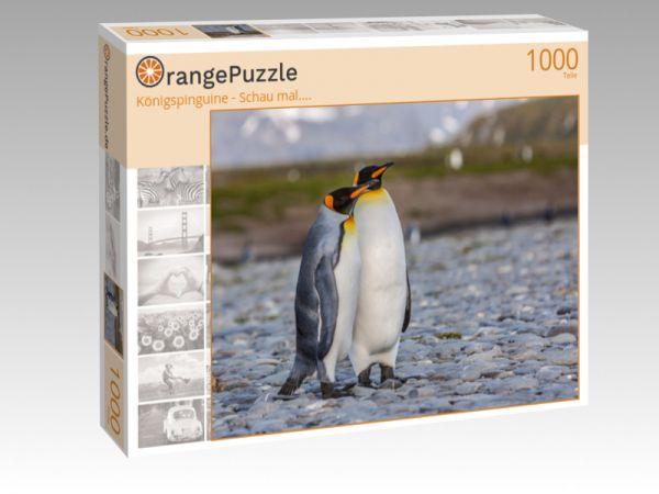 "Puzzle Motiv ""Königspinguine - Schau mal...."" - Puzzle-Schachtel zu 1000 Teile Puzzle"