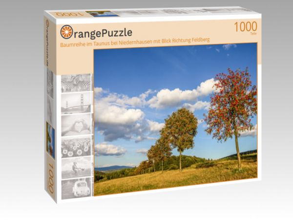"""Puzzle Motiv """"Baumreihe im Taunus bei Niedernhausen mit Blick Richtung Feldberg"""" - Puzzle-Schachtel zu 1000 Teile Puzzle"""