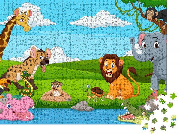 """Puzzle-Motiv """"Afrikanische Cartoon-Landschaft mit wilden Tieren"""" - Puzzle-Teile zu 1000 Teile Puzzle"""