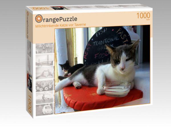 "Puzzle Motiv ""Milchtrinkende Katze vor Taverne"" - Puzzle-Schachtel zu 1000 Teile Puzzle"