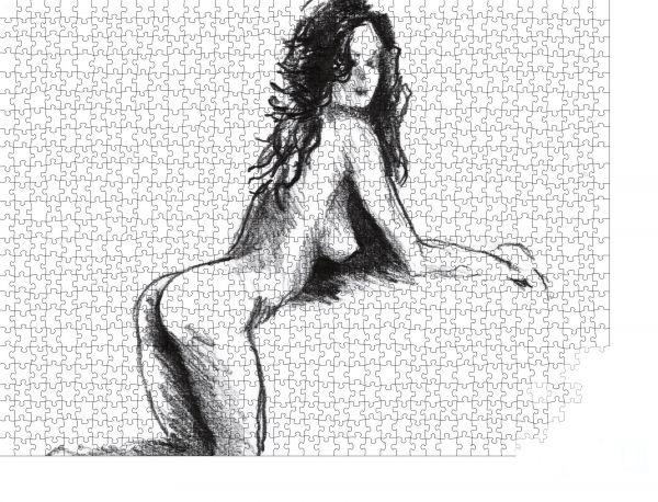 """Puzzle-Motiv """"Die sexy, schlanke, nackte Frau, die kniend und nach vorne geneigt ist. Bleistiftzeichnung"""" - Puzzle-Schachtel zu 1000 Teile Puzzle"""