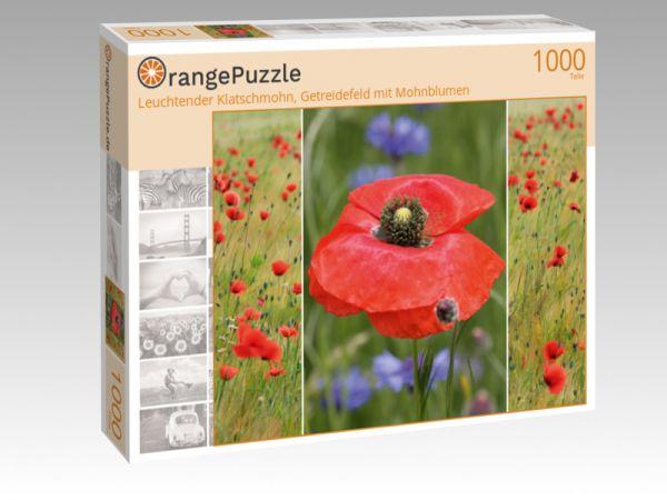 """Puzzle Motiv """"Leuchtender Klatschmohn, Getreidefeld mit Mohnblumen"""" - Puzzle-Schachtel zu 1000 Teile Puzzle"""