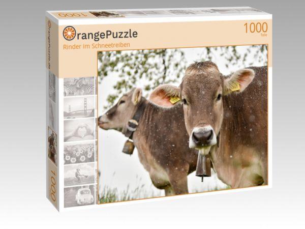 """Puzzle Motiv """"Rinder im Schneetreiben"""" - Puzzle-Schachtel zu 1000 Teile Puzzle"""