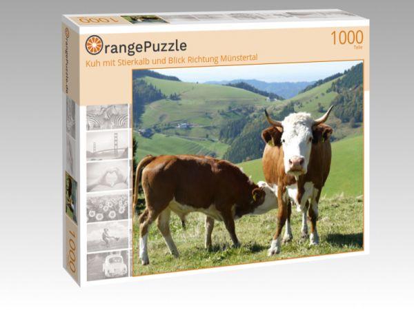 """Puzzle Motiv """"Kuh mit Stierkalb und Blick Richtung Münstertal"""" - Puzzle-Schachtel zu 1000 Teile Puzzle"""