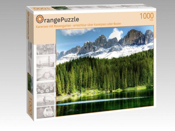 """Puzzle Motiv """"Karersee mit Rosengarten - erreichbar über Karerpass oder Bozen"""" - Puzzle-Schachtel zu 1000 Teile Puzzle"""