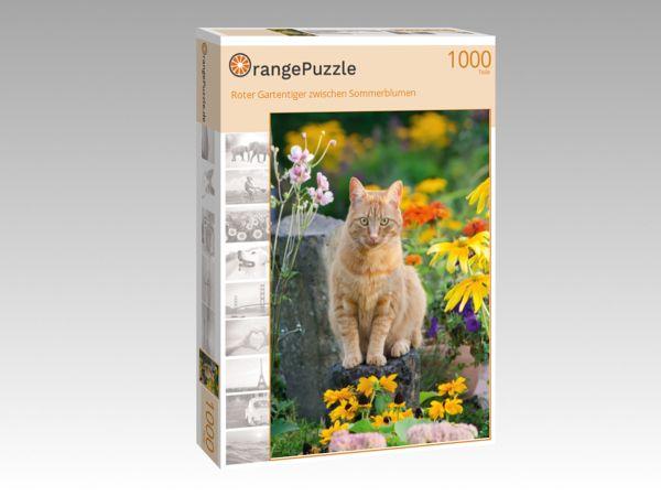 """Puzzle Motiv """"Roter Gartentiger zwischen Sommerblumen"""" - Puzzle-Schachtel zu 1000 Teile Puzzle"""