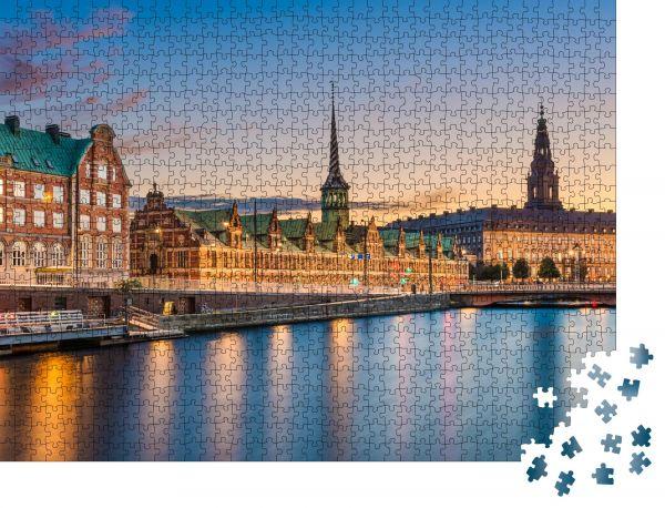 """Puzzle-Motiv """"Nachtskyline Panorama von Kopenhagen, Dänemark"""" - Puzzle-Schachtel zu 1000 Teile Puzzle"""
