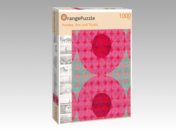 """Puzzle Motiv """"Punkte, Rot und Türkis"""" - Puzzle-Schachtel zu 1000 Teile Puzzle"""