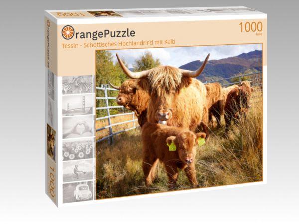 """Puzzle Motiv """"Tessin - Schottisches Hochlandrind mit Kalb"""" - Puzzle-Schachtel zu 1000 Teile Puzzle"""
