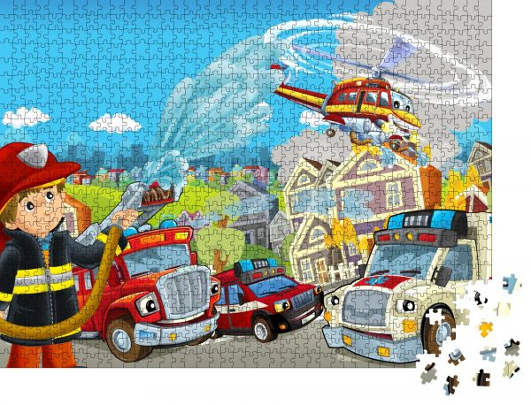 """Puzzle-Motiv """"Cartoonbühne mit verschiedenen Maschinen für Feuerwehr und Krankenwagen bunte und fröhliche Szene"""" - Puzzle-Teile zu 1000 Teile Puzzle"""