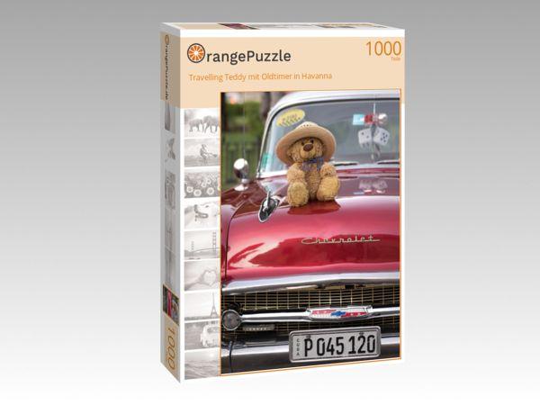 """Puzzle Motiv """"Travelling Teddy mit Oldtimer in Havanna"""" - Puzzle-Schachtel zu 1000 Teile Puzzle"""