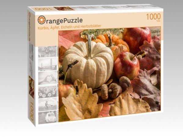 """Puzzle Motiv """"Kürbis, Äpfel, Eicheln und Herbstblätter"""" - Puzzle-Schachtel zu 1000 Teile Puzzle"""