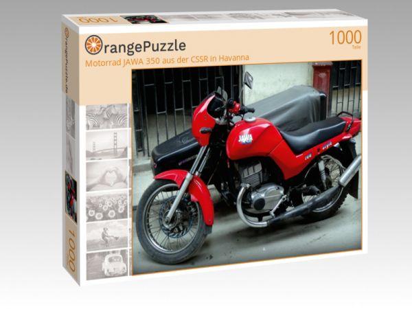"""Puzzle Motiv """"Motorrad JAWA 350 aus der CSSR in Havanna"""" - Puzzle-Schachtel zu 1000 Teile Puzzle"""
